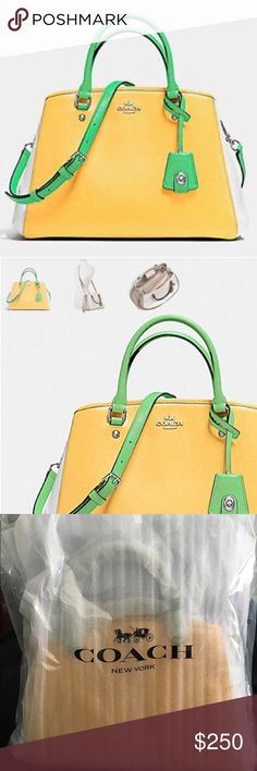 """COACH MARGOT CARRYALL LEATHER SILVER/CANARY/GREEN MARGOT CARRYALL IN COLORBLOCK LEATHER (COACH F37248)  Details: -Crossgrain leather - Inside zip, cell phone and multifunction pockets - Zip-top closure, fabric lining - COACH brand metal accent -Strap with 20"""" drop for shoulder or crossbody  - GREEN/CANARY/WHITE with SILVER hardware - Original packing _ BRAND NEW_Never Used - Medium Size - includes Coach Duster Bag - 10"""" (L) x 9"""" (H) x 6 1/4"""" (W)wear - 10"""" (L) x 9"""" (H) x 6 1/4"""" (W) Coach Bags…"""