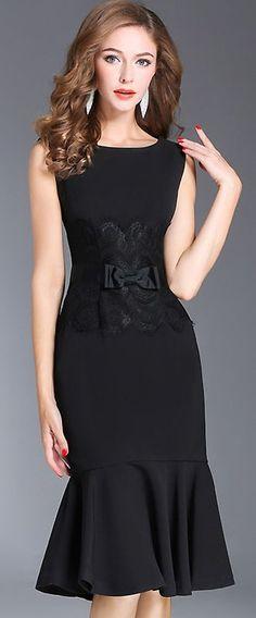Chic O-Neck Sleeveless Lace Stitching Bodycon Dress - #Bodycon #chic #dress #Lace #Mulheres #Oneck #Sleeveless #Stitching