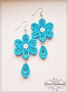 Quilling Jewelry - Blue Earrings By Sweet Handmade