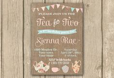 Tea for two invite Tea for 2 invitation by DulceGracePrintables More