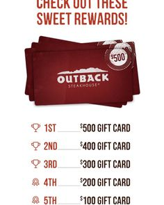 An #awesome #giveaway by #outback : $500 up for grabs and #tons of other great #freebies !! Check it out here: https://m.quikly.com/1048-outbacksteakhouse/t/yFTBmDd-lnk