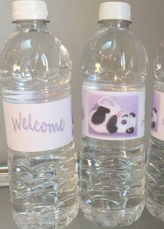 Panda baby shower water bottle wrappers by Cyberlinkspro on Etsy