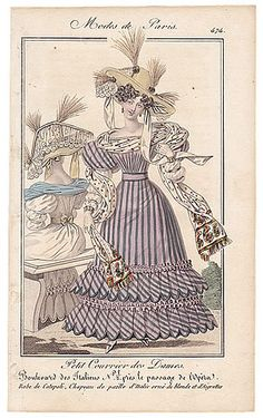 Petit Courrier des Dames 1827 N°474 Mode de Paris Julie Ribault