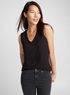 Minimalist V-neck tank top | Contemporaine | Women%u2019s Basic T-Shirts | Simons V Neck Tank Top, V Neck T Shirt, Modern Fashion, Minimalist Fashion, Camisole, Skinny, T Shirts For Women, Clothes For Women, Mannequin