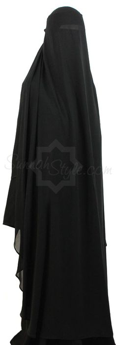 Extra Long Butterfly Niqab (Black) by Sunnah Style #SunnahStyle #niqabstyle #niqaab