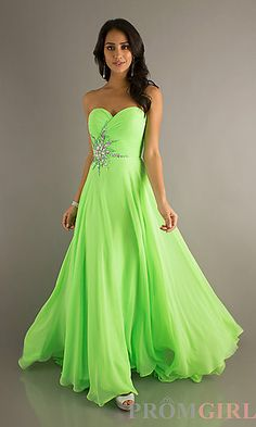 Floor Length Strapless Sweetheart Gown at PromGirl.com