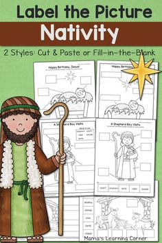 Nativity Label the Picture worksheets come in 2 styles: cut and paste or fill-in-the-blank. Perfect for Kindergarten or First Grade. Freebie included!