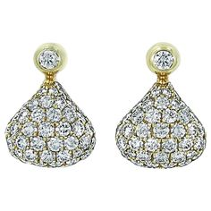 Chopard Pushkin Pave Diamond gold Earrings | From a unique collection of vintage more earrings at https://www.1stdibs.com/jewelry/earrings/more-earrings/