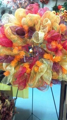 Fall wreath deco mesh
