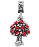 """Fairchild AFB - – Located near Spokane, WA, Fairchild AFB is proud to be home to the 92nd Air Refueling Wing.  Our .925 sterling silver charm with ruby red enameled apples depicts the apple trees that are synonymous with the Spokane area.  """"Fairchild AFB WA"""" is inscribed on the back."""