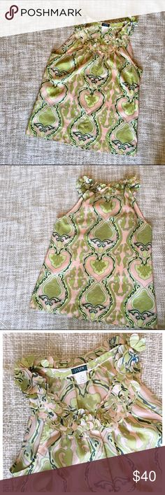 J Crew Brocade Silk Yoke Tank Beautiful muted greens and pinks with beautiful leafy yoke neckline. Factory 100% silk with hidden buttons. No noticeable wear J. Crew Tops Blouses