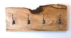 Florinda House Design - £95 Live Edge Hornbeam Coat Hooks. A great foyer or mudroom showpiece, this live edge hornbeam coat hook slab has been finished to perfection.