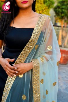 Shop Sky Blue Heavy Net Zari Border Dupatta - Stoles Online in India Long Dress Fashion, Fashion Dresses, Collar Kurti Design, Black Anarkali, Salwar Designs, Saree Models, Stylish Girl Pic, 2 Piece Outfits, Party Wear