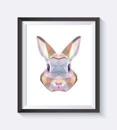 Bunny Art Bunny Print Rabbit Wall Art Geometric by ccPrintShop