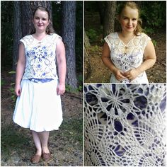 White blouse with crochet items with pineapple motif.