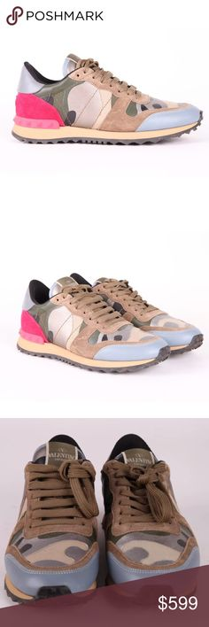 Valentino rockstud runner sneakers camo 38.5 8.5 Valentino Limited rockstud runner sneakers size EUR 38.5. Green, blue pink. In excellent condition. Valentino Shoes Sneakers