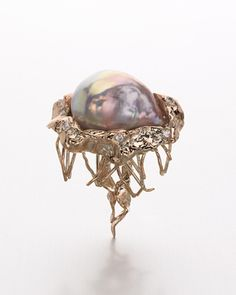 Brenda Smith - Jellyfish Brooch - Pink/lavender baroque pearl brooch set in 14k rose gold, accented with 5 round brilliant diamonds.
