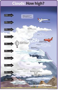 WEATHER An infotoon on the heights of clouds. Here's a relative chart that can help approximate what kinds of clouds those are and roughly how high in the sky they are. Click the image for a larger, classroom friendly version. Classroom Posters, Science Classroom, Teaching Science, Science Activities, Teaching Geography, Science Facts, Earth And Space Science, Earth From Space, Science And Nature