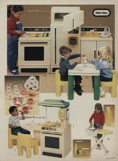 Little Tikes Kitchen. One of my friends had this, it was really cool.  The ironing set not so exciting though.