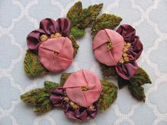 Antique Ribbon Work Millinery Flower Appliques
