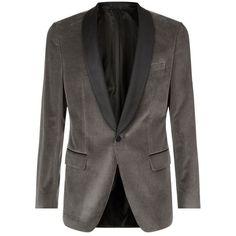 BOSS Velvet Evening Jacket ($530) found on Polyvore featuring men's fashion, men's clothing, men's outerwear, men's jackets, mens formal jackets and mens velvet jacket
