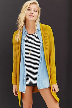 Silence + Noise Donna Cardigan Sweater - Urban Outfitters ---this entire outfit is super cute Yellow Cardigan, Ribbed Cardigan, Sweater Cardigan, Warm Sweaters, Pullover Sweaters, Cardigans, Urban Outfitters Sweaters, Dress To Impress, Fashion Outfits