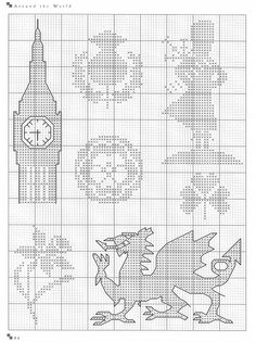 Free UK filet motifs cross stitch pattern #stitching