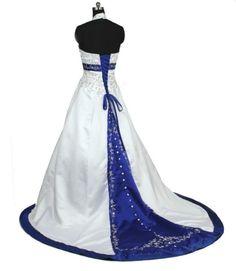 Vestido de novia - VN37 (espalda) - Blanco y azul Francia.Realizado en satén 395. Bordado sobre tela con trabajo de pedrería en todo el vestido.