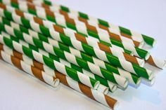 24 Girl scout fishing hunting camping army camo green brown mint themed striped stripes paper straw first birthday party bridal baby shower