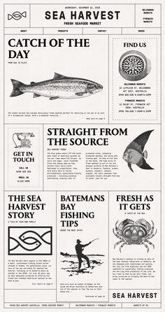 Sea Harvest landing page design inspiration – Lapa Ninja - seafood Design Corporativo, Book Design, Layout Design, Print Design, Design Ideas, Design Trends, Graphic Design Posters, Graphic Design Inspiration, Graphic Design Layouts