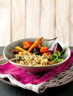 Brown-rice risotto with roasted winter vegetables.