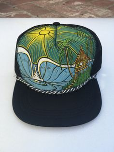 b0b5d876d22a3 Items similar to Hand Painted - Trucker hat - by Roupolimama on Etsy
