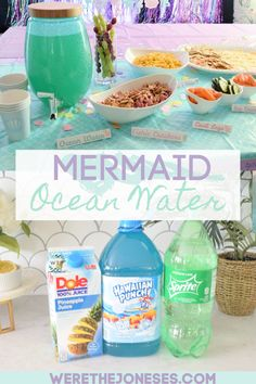 Mar 2020 - How to make a delicious Mermaid Party Punch (or Ocean Water Punch) for your Under The Sea Themed Birthday Party - Easy 3 Simple Ingredients! Mermaid Theme Birthday, Little Mermaid Birthday, Little Mermaid Parties, Mermaid Party Food, Mermaid Themed Party, Little Mermaid Food, Ariel Party Food, Water Theme Birthday, Mermaid Cupcakes