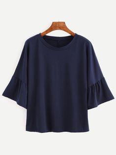 T-shirt manche évasée couleur unie - bleu marine Only CHF$8.27