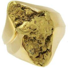 alaskan gold nugget rings | Alaskan Gold Nugget Ring in Yellow Gold - www.goldrushfinejewelry.com