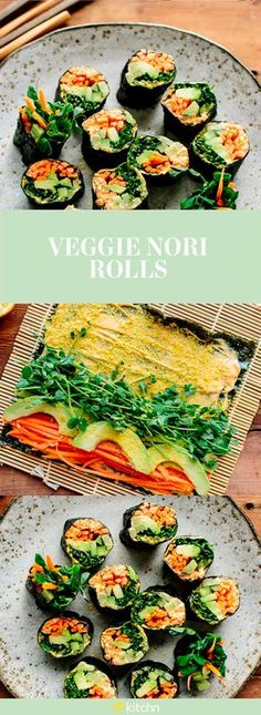 This easy recipe for veggie nori rolls is the healthy vegetarian (AND VEGAN) solution you've been missing in your diet. Raw, creamy and crunchy, these nori rolls are the middat snack that will fill you up and keep the calorie count on the low side. This recipe uses a sheet of nori, hummus, tahini, or cashew cheese, carrots, cucumbers, avocado and lemon.