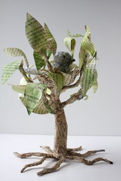 Paper Mache Tree Made From Book