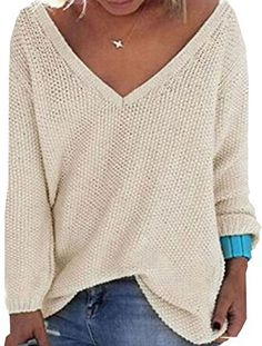 UGET Womens Casual Autumn V Neck Loose Knit Pullover Tops Sweater Jumper Asia XL Beige * Be sure to check out this awesome product.