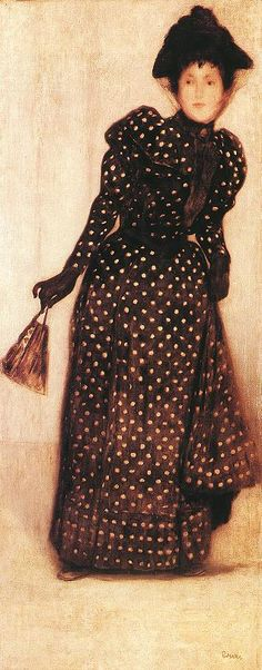▴ Artistic Accessories ▴ clothes, jewelry, hats in art - Jozsef Rippl Ronai | Woman Dressed in Polka Dots Robe, 1889
