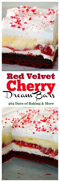 These Red Velvet Cherry Dream Bars with their red velvet cookie crust, sweet cheese layer, cherry pie filling, vanilla pudding and whipped topping make these bars the perfect holiday treat. Or better yet, enjoy them all year 'round.