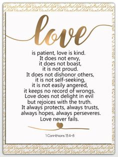 Love Is Patient Love Is Kind 1 Corinthians 13 Bible Verse Wall Art