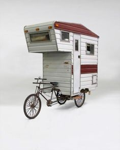 When I was a kid, I always wanted a camper or motorhome. I'd ride my bike around and pretend I had a camper on the back, and in my mind, it looked just like this! Bike Trailer, Camper Trailers, Eco Trailer, Tiny Trailers, Trailers For Sale, Truck Camper, Travel Trailers, Camper Van, Glamping