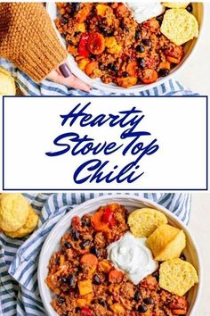 This Hearty Stove Top Chili is slow cooked on the stove top in a dutch oven. It's made with ground beef and packed with onions, carrots, peppers, sweet potatoes and black beans. It's rich flavor is achieved with a spice combination that includes chili, cumin, cayenne, cinnamon and nutmeg. #stovetopchili #chilirecipes Chili Recipes, Meat Recipes, Fall Recipes, Easy Dinner Recipes, Party Recipes, Chili And Cornbread, Slow Cooker Chili, Game Day Food, Dutch Oven