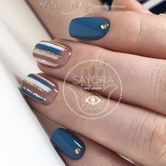 Dark blue nails Nail art stripes Nails with rhinestones ideas Original nails Spring nail art Spring nails 2018 Square nails Striped nails Best Nail Art Designs, Nail Designs Spring, Acrylic Nail Designs, Acrylic Nails, Spring Design, Teal Nail Designs, Striped Nails, Blue Nails, Spring Nail Art