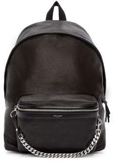 7eea8e6c1ce4 Saint Laurent Black Leather Curb Chain Backpack Mens Designer Backpacks