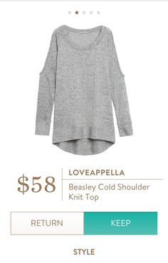 Loveappella Cold Shoulder Knit Top. I love Stitch Fix! A personalized styling service and it's amazing!! Simply fill out a style profile with sizing and preferences. Then your very own stylist selects 5 pieces to send to you to try out at home. Keep what you love and return what you don't. Only a $20 fee which is also applied to anything you keep. Plus, if you keep all 5 pieces you get 25% off! Free shipping both ways. Schedule your first fix using the link below! #stitchfix @stitchfix…