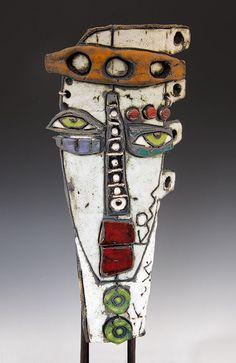 Pottery Painting Designs, Paint Designs, Metal Art, Wood Art, Kimmy Cantrell, Abstract Face Art, Clay Masks, African Art, Ceramic Art