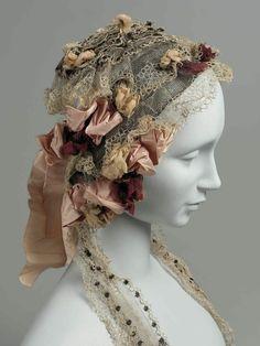 Ladies' Cap of Lace & Roses c. Mid-19th Century - Indulgy