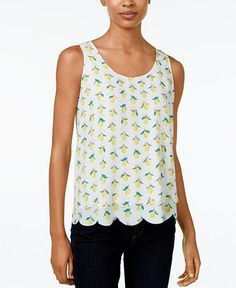 Sale $34.99   Reg. $49.50 EXTRA 20%  Maison Jules Scalloped Printed Top, Only at Macy's