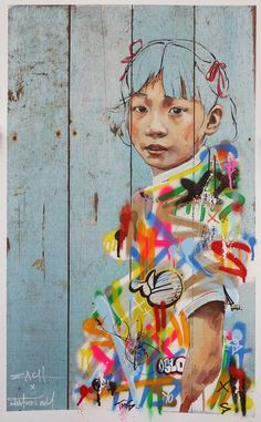 Lila and Cloe: Street Art by Ernest Zacharevic {ZACH street art}